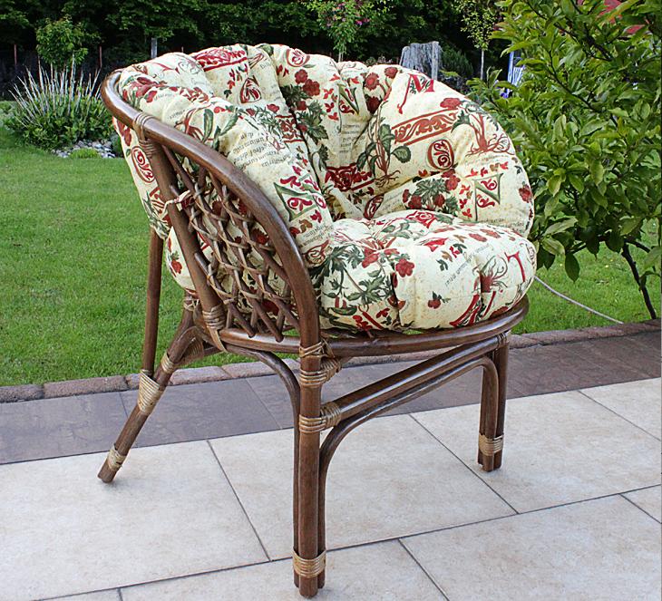 Fotel rattanowy  z rattanu razem z poduszką kwiatową