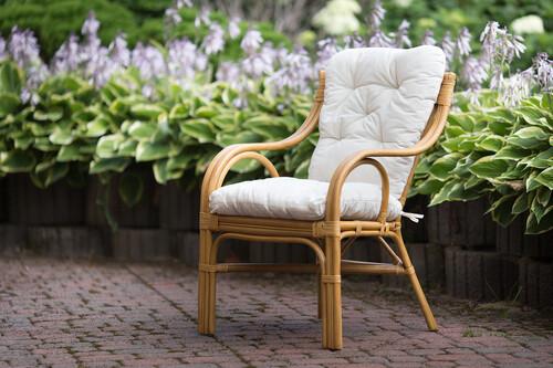 śliczne Krzesło Rattanowe Fotel Miodowy Brązowy M07f