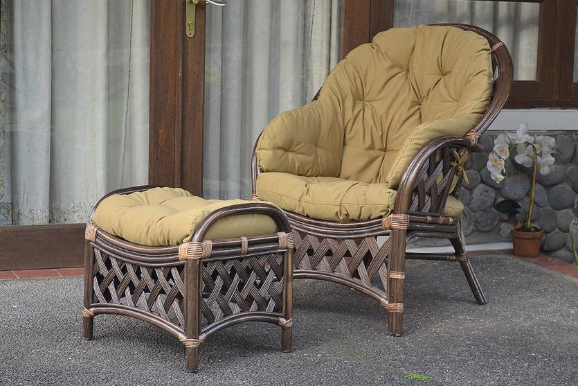 Komplet Wypoczynkowy Wygodny Fotel Rattanowy Z Podnóżkiem Miento
